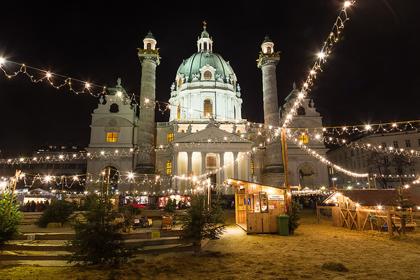 Karlskirche and the Art Advent Christmas Market