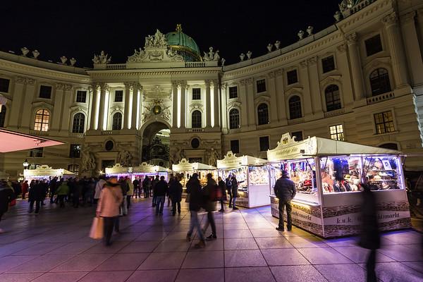 Hofburg Palace from Michaelerplatz in Vienna at night