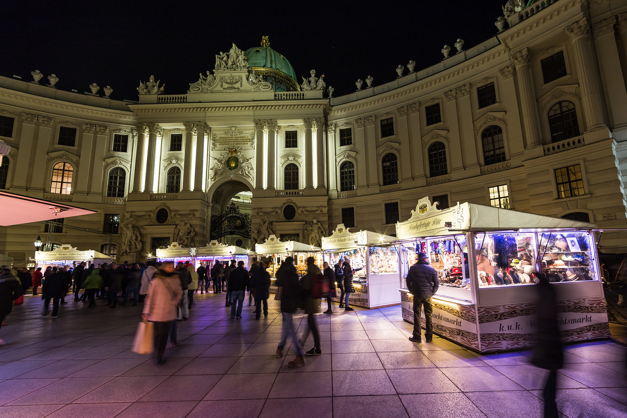 Hofburg Palace from Michaelerplatz in Vienna at night
