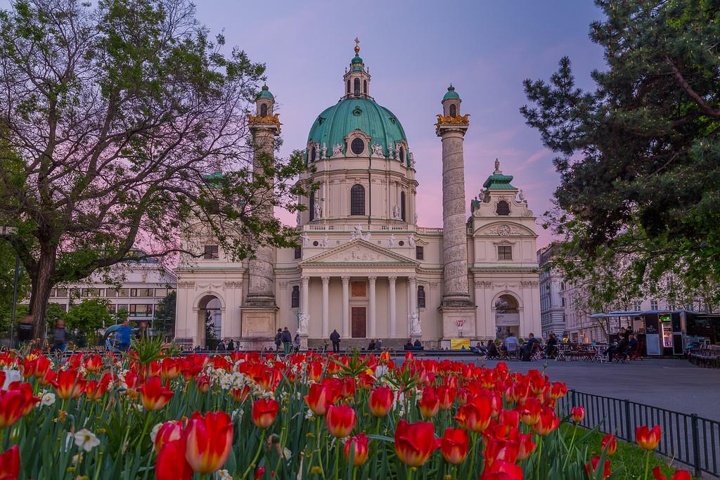 Karlskirche Vienna in the spring