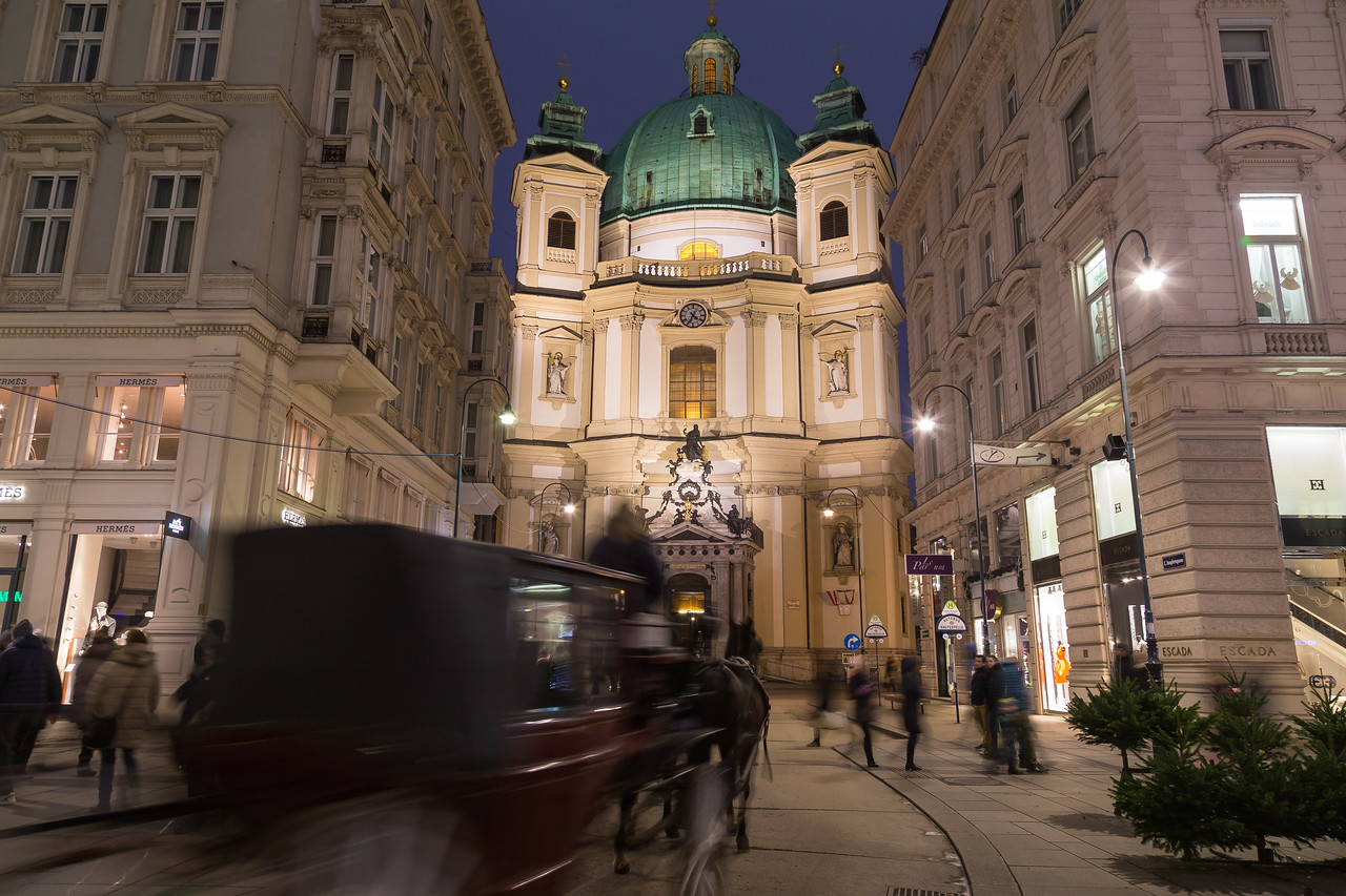 Catholic Church of St. Peter at Night and Fiakers