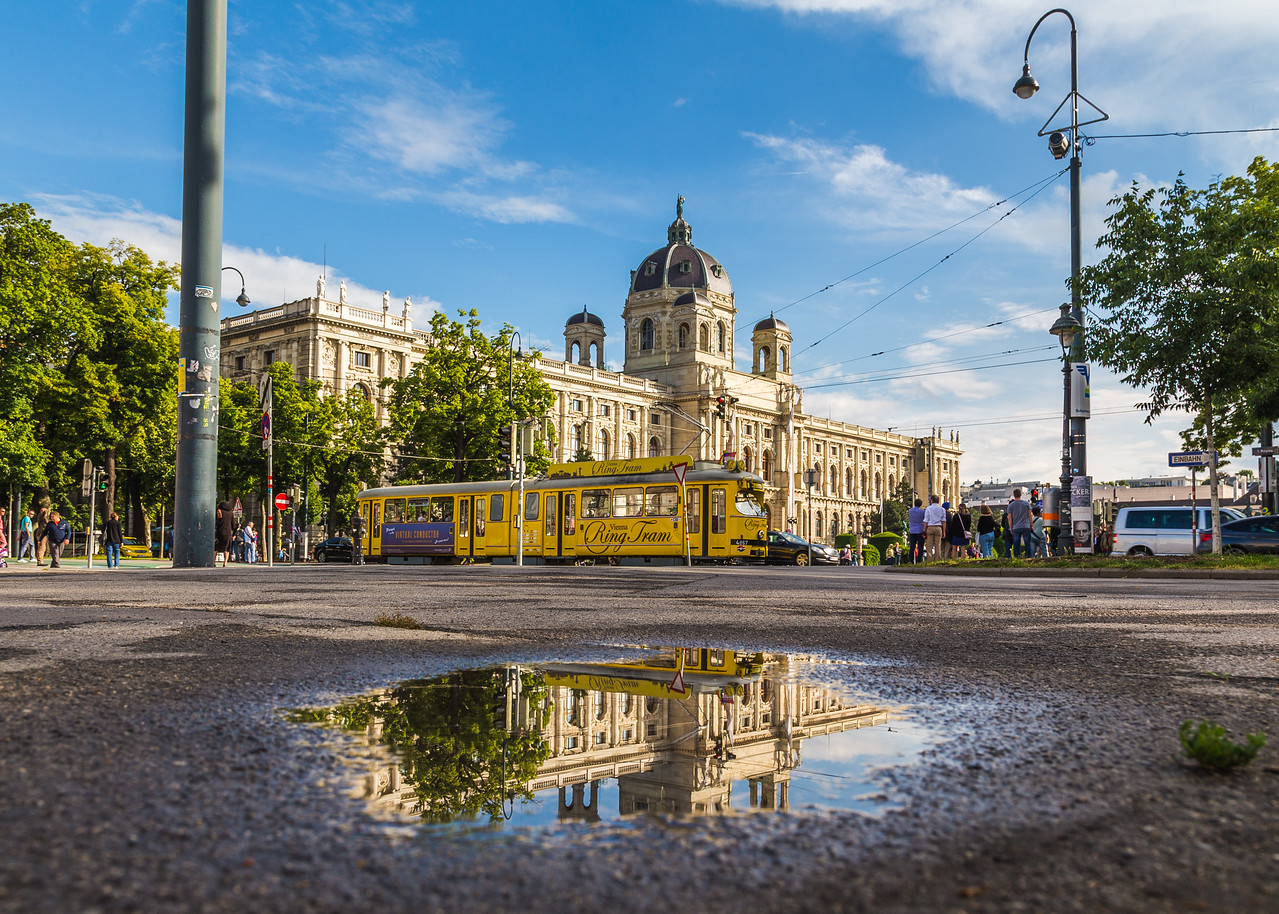KH Museum and Yellow Ring Trams in Vienna
