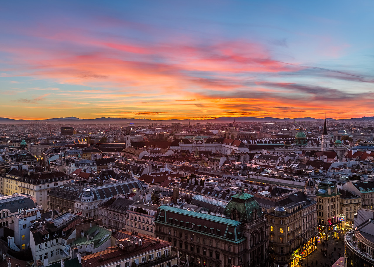 Vienna Skyline at Sunset