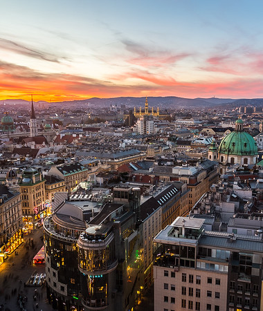 A view of the Vienna Skyline during a wonderful Sunset