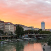 Views along the Danube Canal in Vienna in the summer