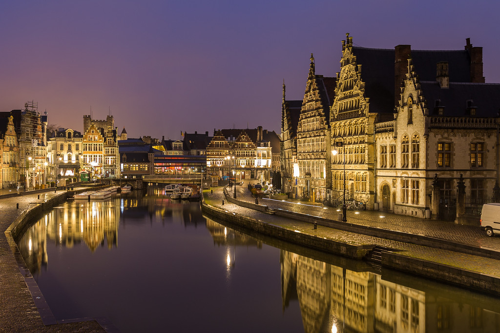 Old buildings along Korenlei, Graslei and the River Leie in Ghent