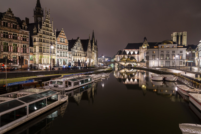 View towards Sint-Michielskerk (Saint Michael's Church, Ghent) at Night