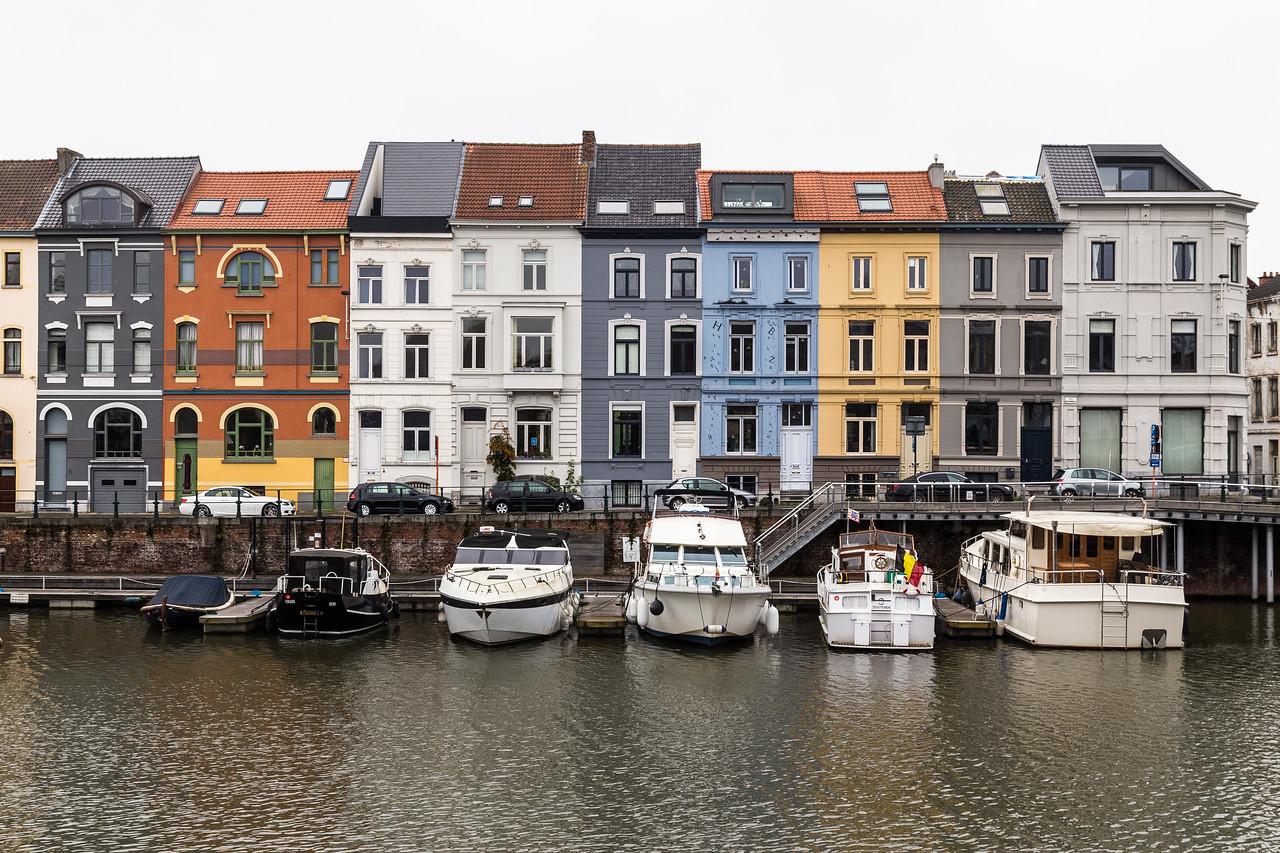 Colorful buildings along Nieuwbrugkaai and Portus Ganda in Ghent