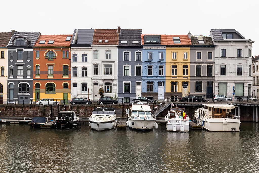 Colorful buildings along Nieuwbrugkaai and Portus Ganda in Ghent