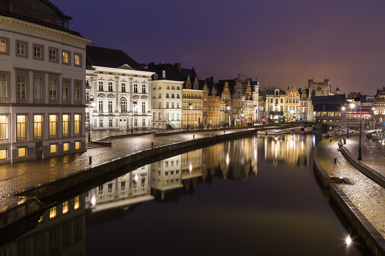 Old buildings along Korenlei and the River Leie in Ghent