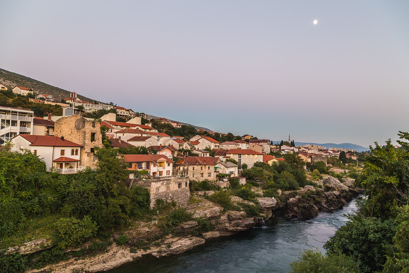 Buildings along the Neretva River, Mostar