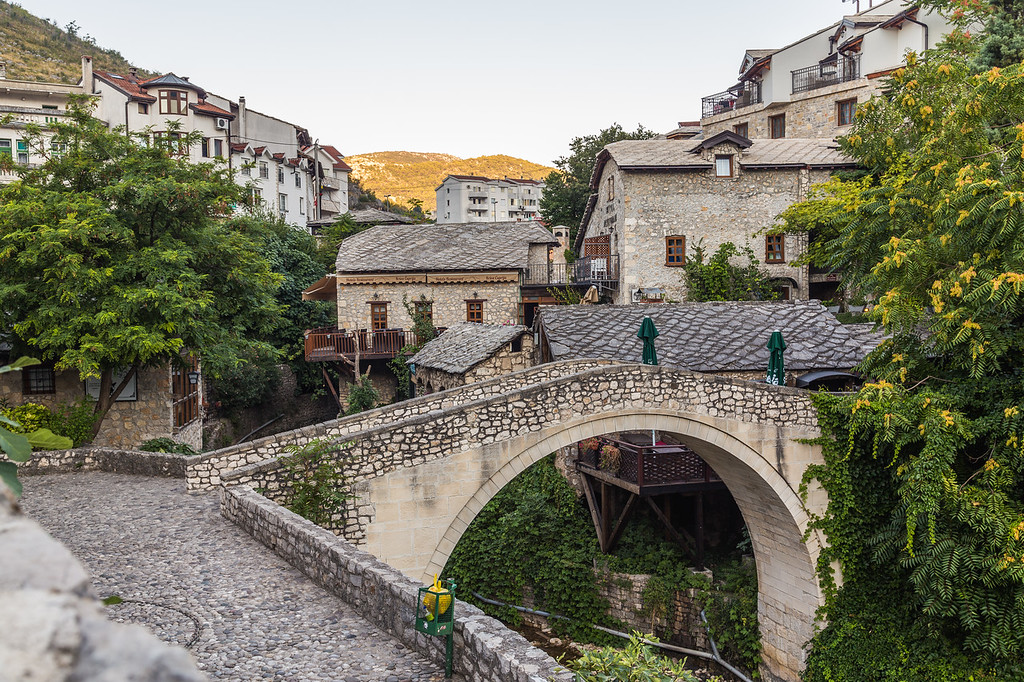 Kriva Cuprija/ Crooked Bridge in Mostar in the morning