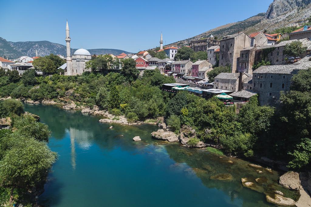 Mostar Skyline along the River Neretva