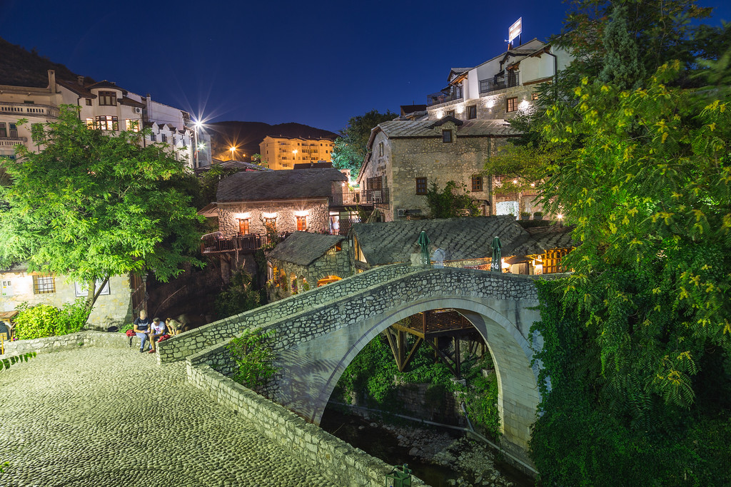 Kriva Cuprija, Crooked Bridge in Mostar at night