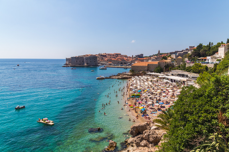 Beaches in Dubrovnik in the Summer