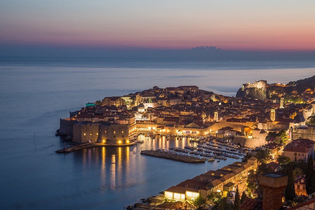 Dubrovnik Old Town at dusk