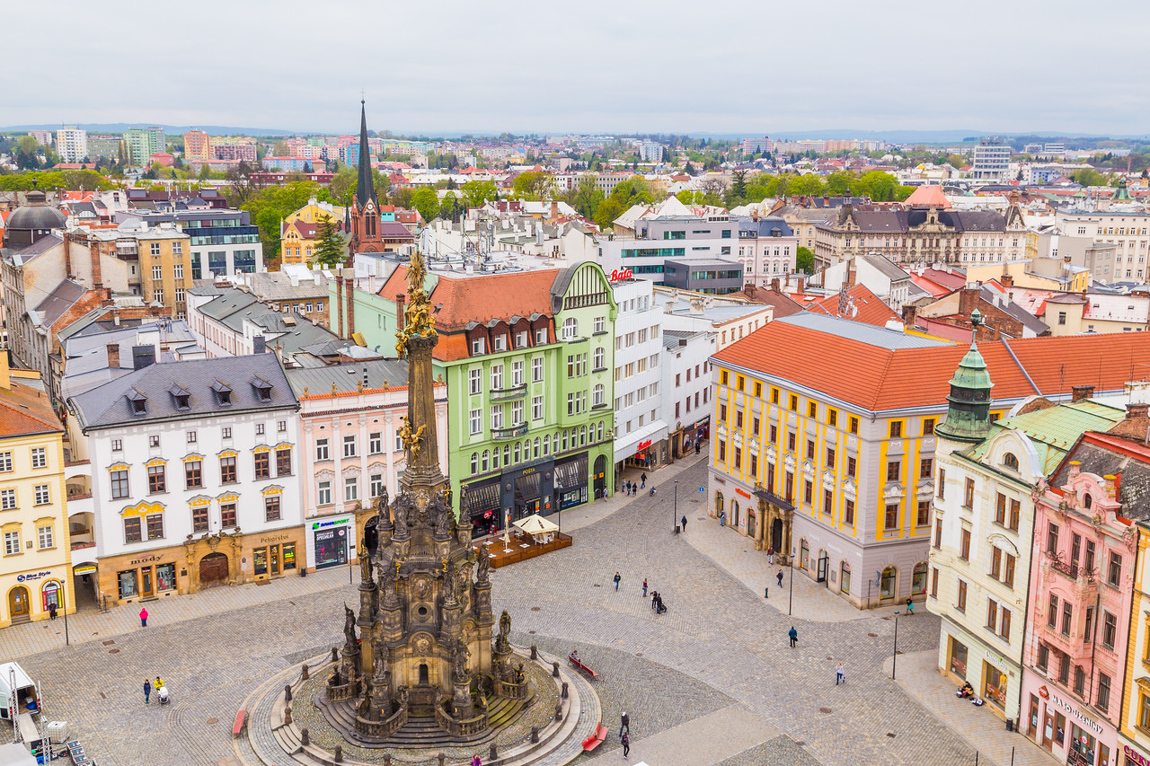 Holy Trinity Column and buildings in Olomouc Czech Republic