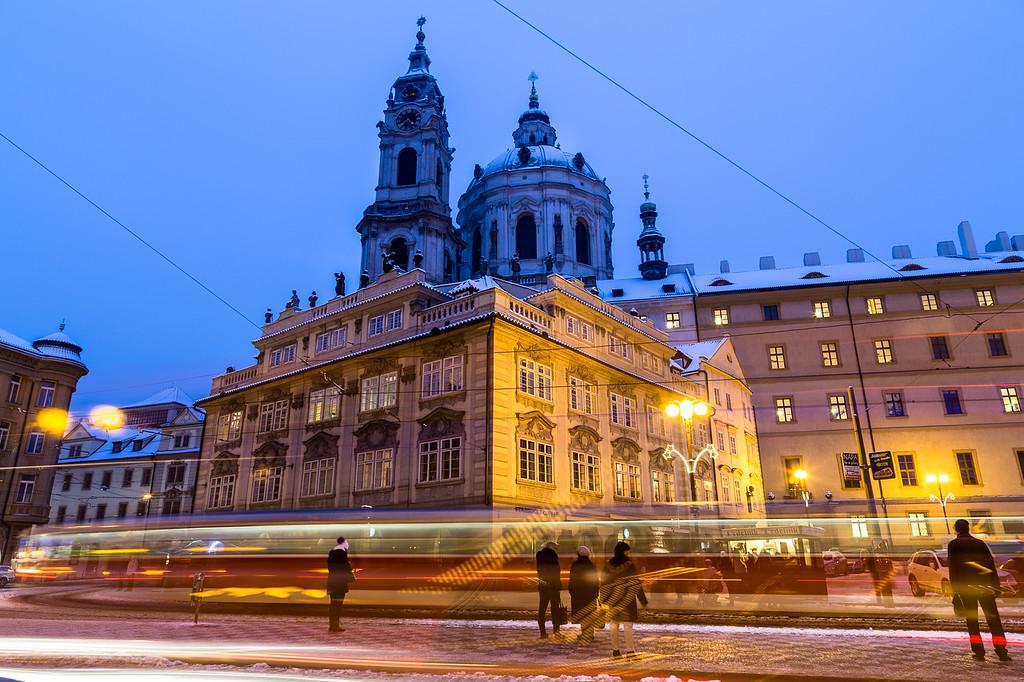 St. Nicholas Church in Prague at Dusk