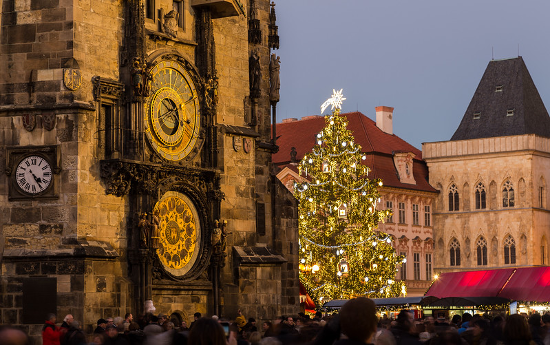Prague astronomical clock and Christmas Tree