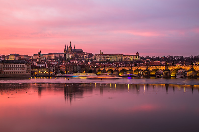 Charles Bridge and Prague Castle at Sunset
