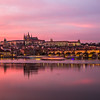 Charles Bridge and Prague Castle at Sunset