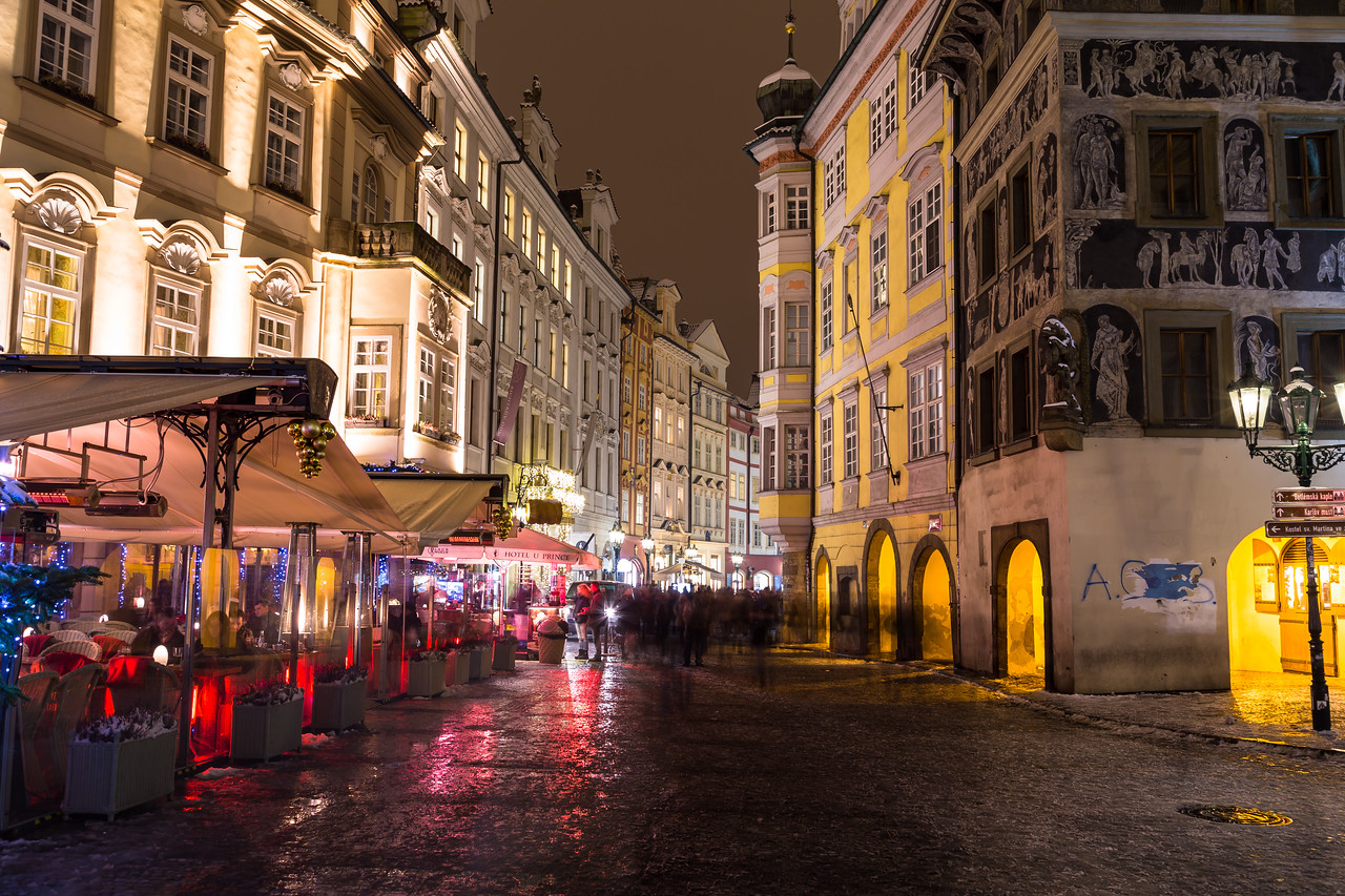 Male Namesti Street in Prague at Night