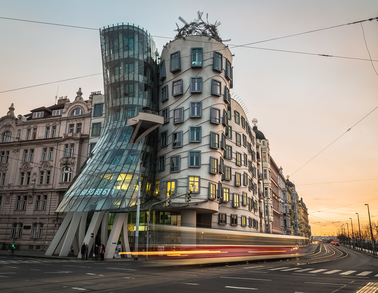 Dancing House (Fred and Ginger) in Prague during the day