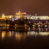 Prague Skyline at Night in the Winter