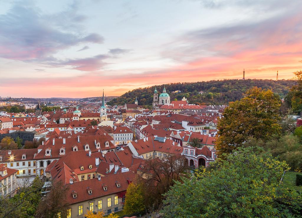 Malá Strana in Prague at sunset