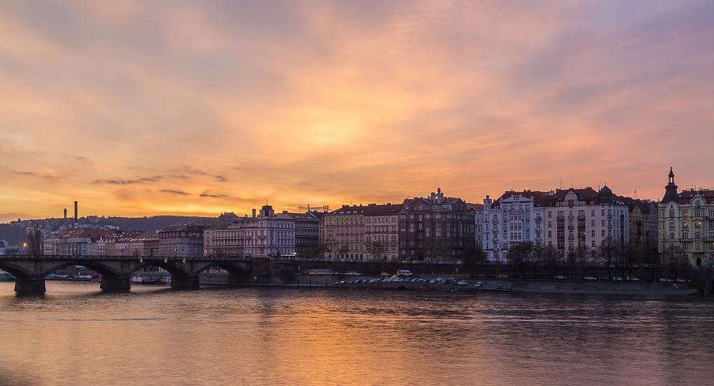 River Vltava in Prague at Sunset