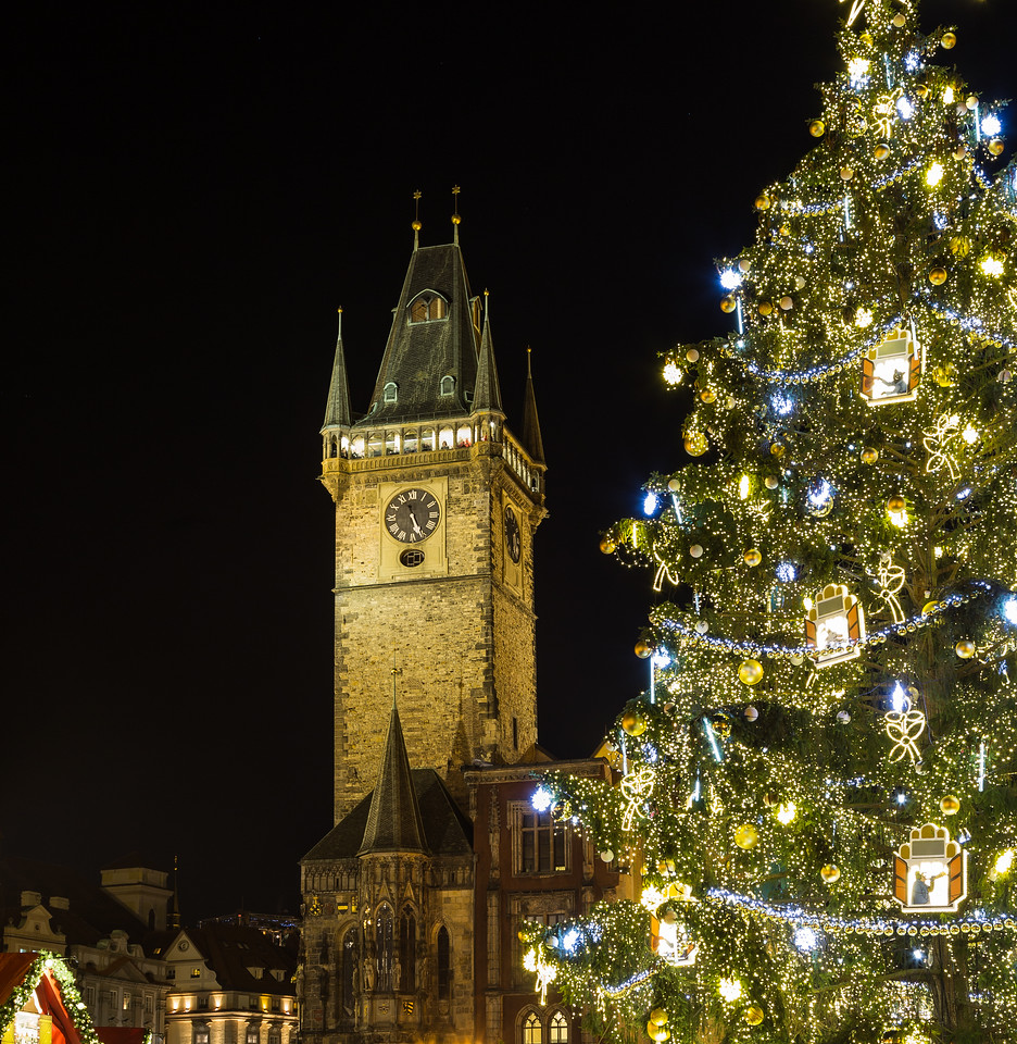 Old Town Hall Clock Tower and the Christmas Tree in Prague