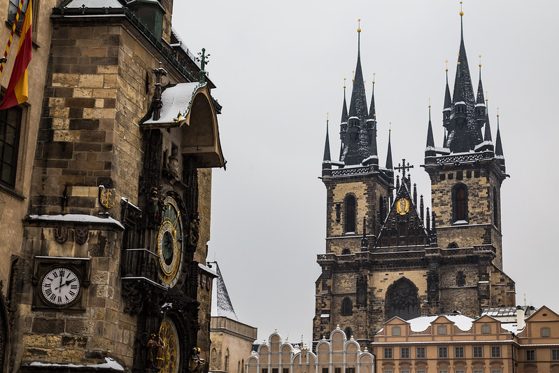 Prague astronomical clock and  Church of Our Lady before Tyn