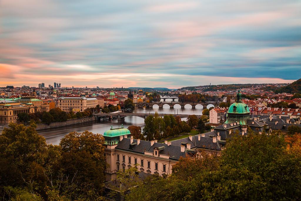 Prague Skyline at sunset