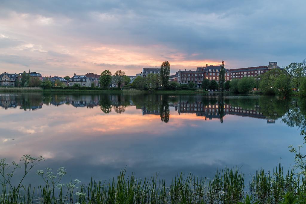 The lake in Copenhagen at Sunset