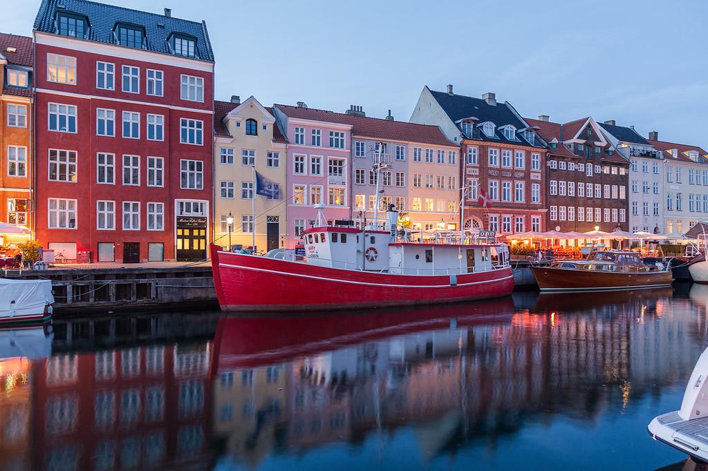 Nyhavn in Copenhagen at night