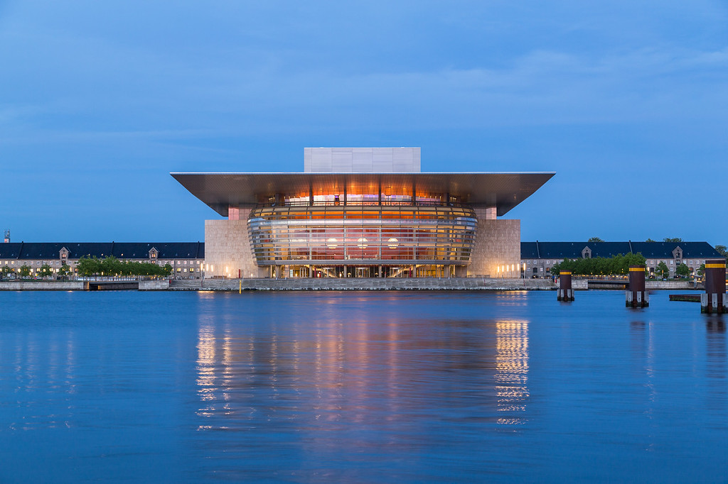 Copenhagen Opera House in Copenhagen at night