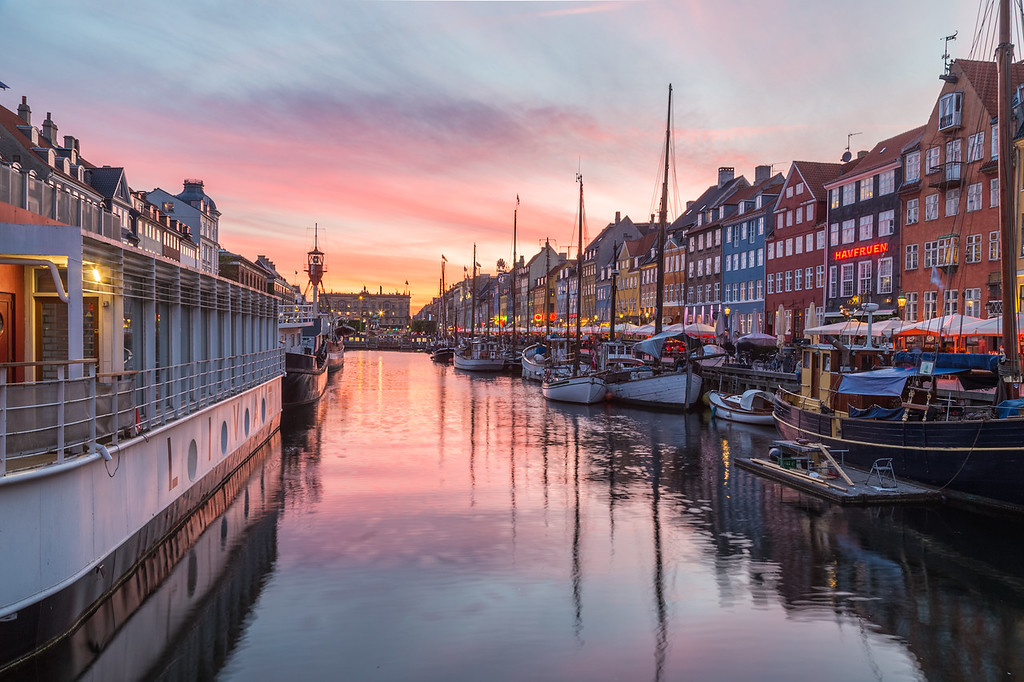 Nyhavn in Copenhagen at sunset