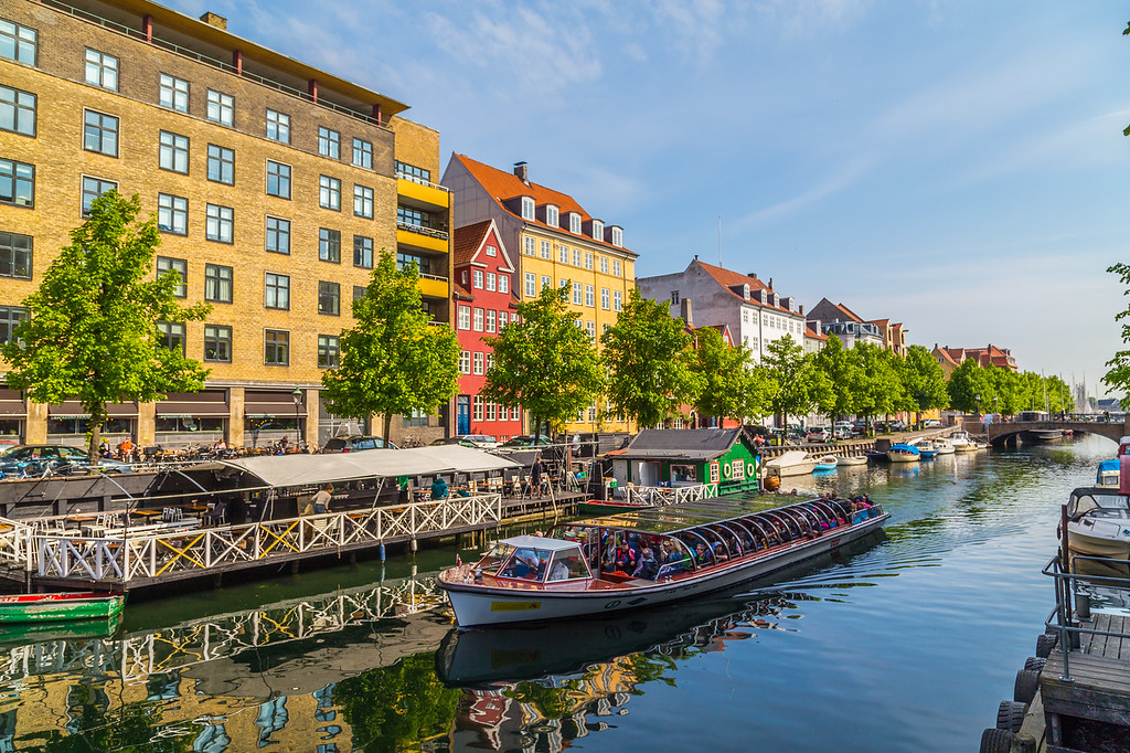 Colourful buildings, boats and canals in Copenhagen