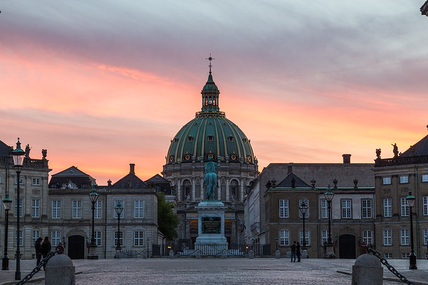 Frederik's Church and Amalienborg at sunset