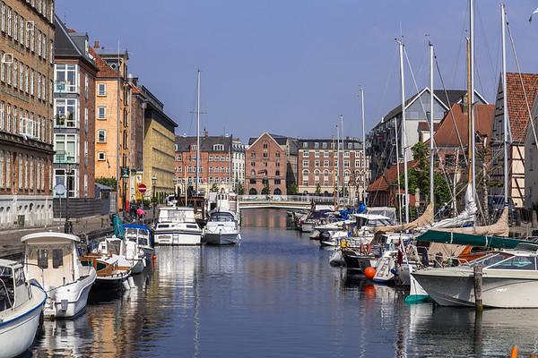 Boats docked along the Christianshavn canals in Copenhagen