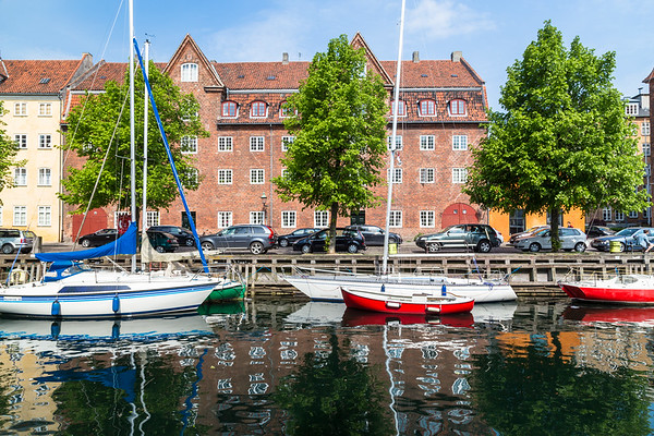 Boats docked along the Christianshavn canals in Copenhagen