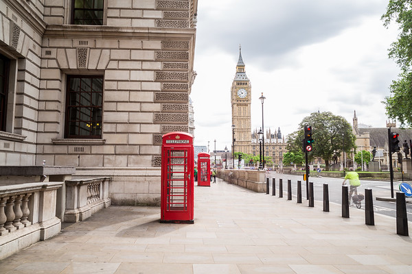Westminster and Red Telephone Boxes in London