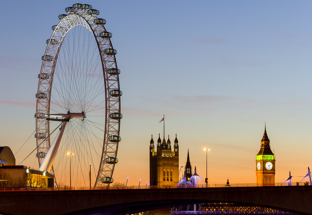 London Eye and Westminster at Dusk