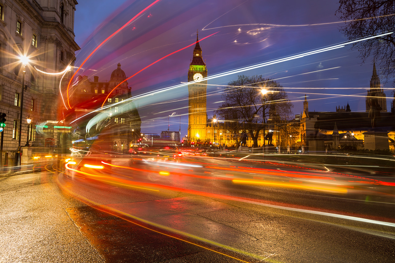 Big Ben and Traffic During Rush Hour