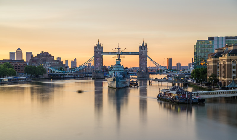 HMS Belfast and Tower Bridge in the morning