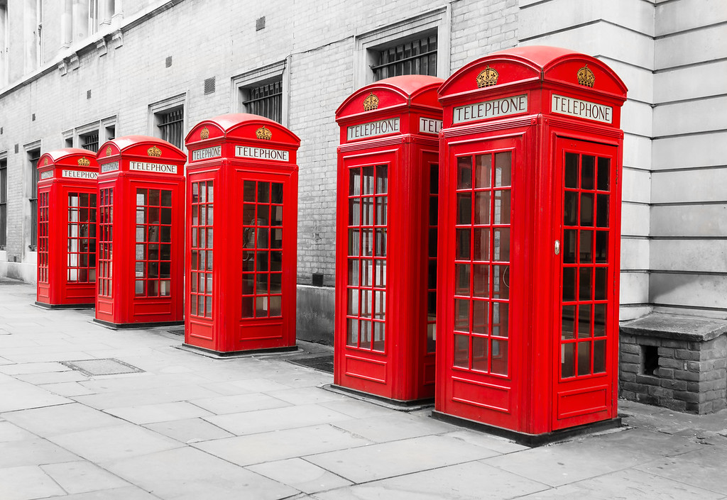 Red Telephone Boxes on a black and white background