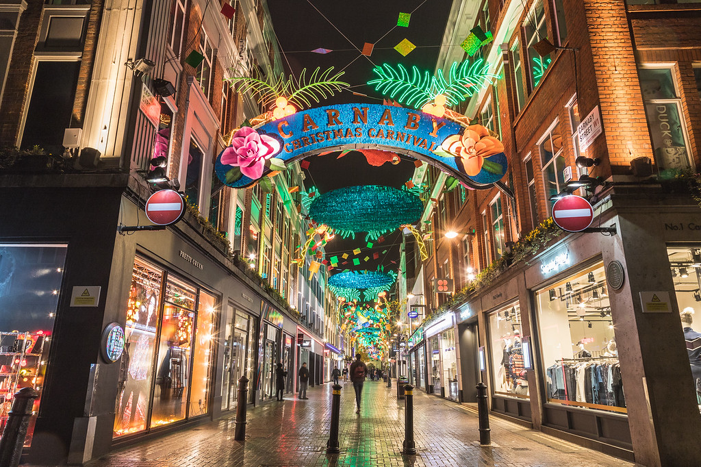 Carnaby Street in London at Christmas in 2017