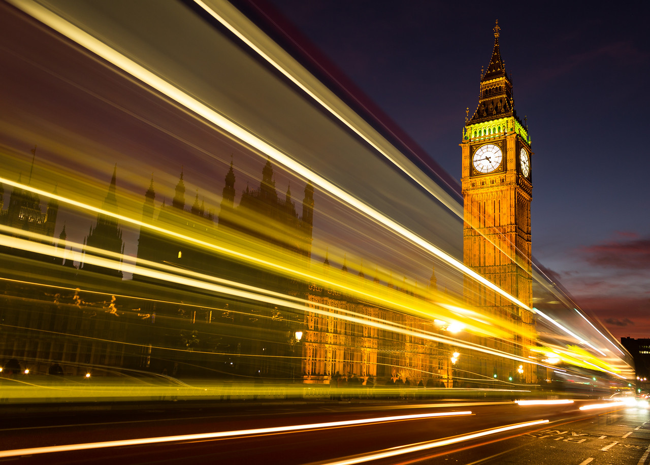 Big Ben and Light trails