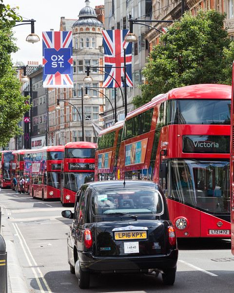 Oxford Street, Union Jack Flags, Taxi's and Buses