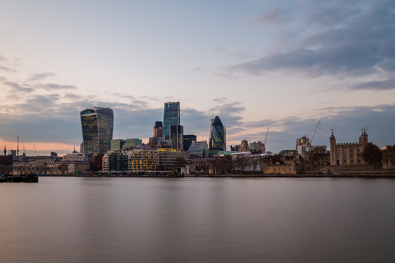 Financial district of London at sunset